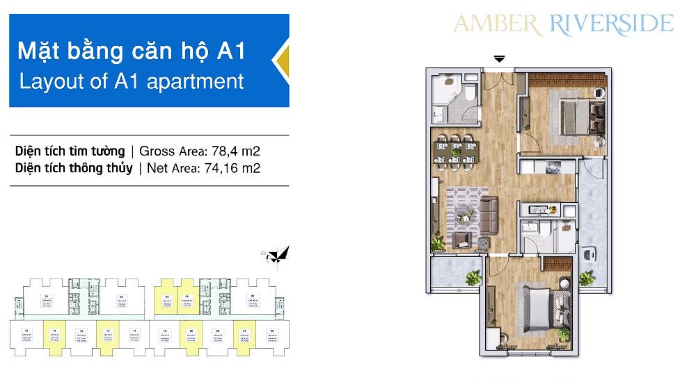 Thiết kế căn hộ A1 dự án Amber Riverside