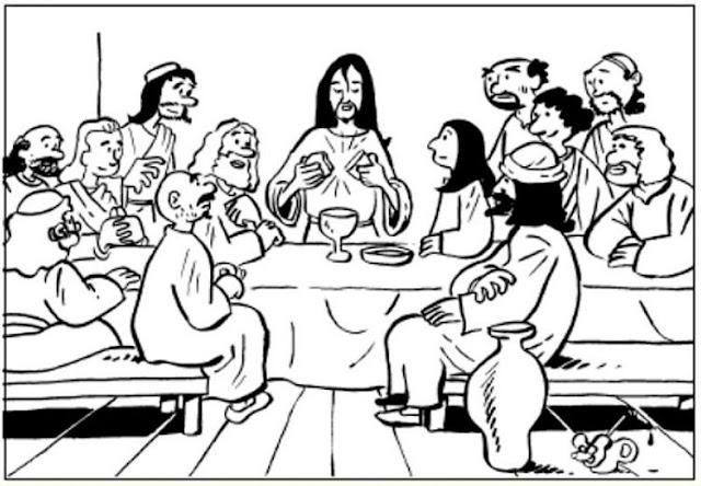 La última cena de Jesús para colorear