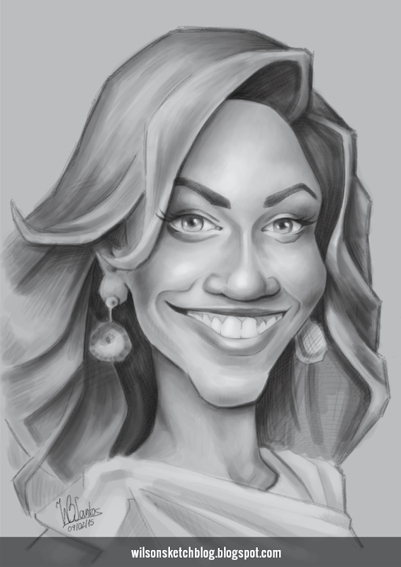 Caricature sketch of Beyoncé Knowles (grayscale).