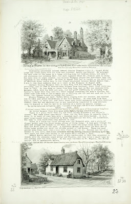 A Record of Shelford Parva by Fanny Wale P25 fo. 26, page 25: A black and white watercolour of Kings Farm in 1916 is at the top of the page. Description of Kirby Lodge continues with details of the Thompson family. At the bottom of the page is a description of 'White farm' and its inhabitants 1916, and a watercolour of Mount View cottages with the obelisk in the distance on Newton Hill, and a small map of the directions in which Newton, Shelford and Hauxton face.  [fo.23 but within mount C]