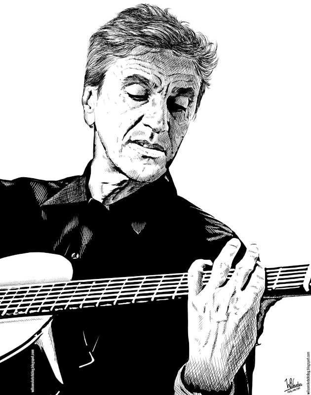 Ink drawing of Caetano Veloso, using Krita 2.4.
