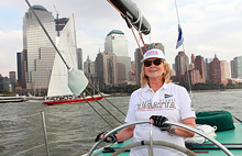 Martha Stewart having fun sailing off New York