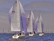 J/105 one-design sailboats- sailing off Long Beach