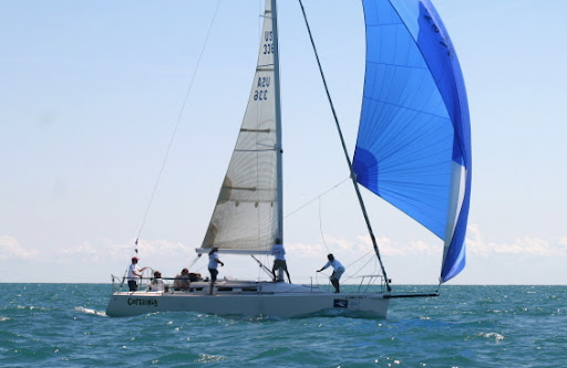 J/109 cruiser racer sailboat- sailing under spinnaker