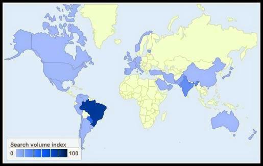 Orkut gebruik / populariteit in de wereld
