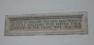 Great War memorial at the Memorial Hall, Church Street, Little Shelford