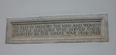 Great War memorial at the Memorial Hall, Church Street, Little Shelford
