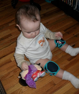 Wearing the Snazzy Baby Knee Pads - Available here