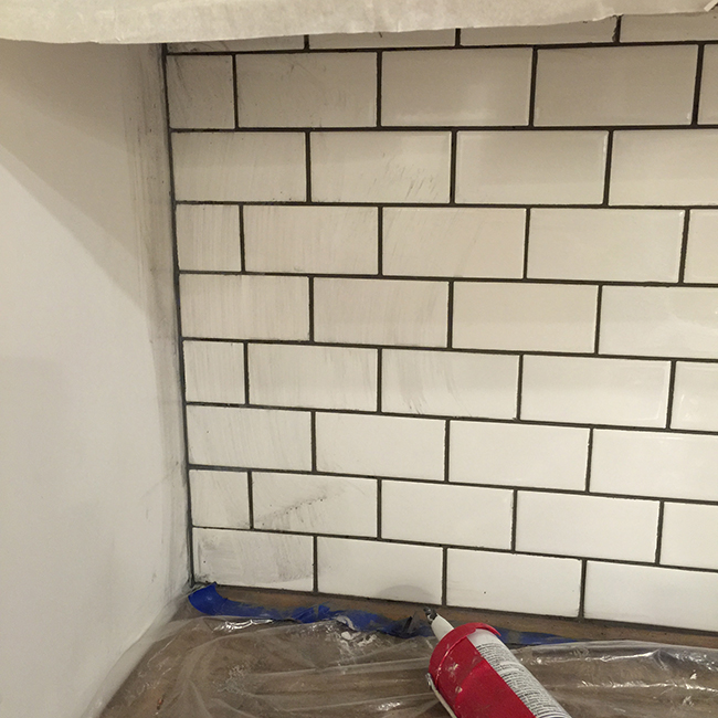 Subway Tile Kitchen Dark Grout: New Laundry Room: Subway Tile & Grout