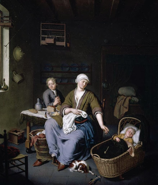 Willem van Mieris - Interior with a Mother Attending her Children - 1728
