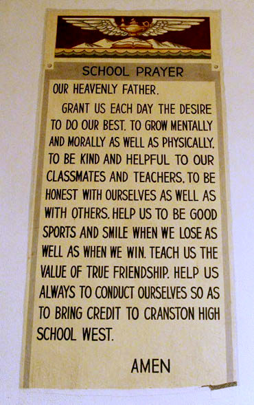 Prayer banner at Cranston West high school in Rhode Island