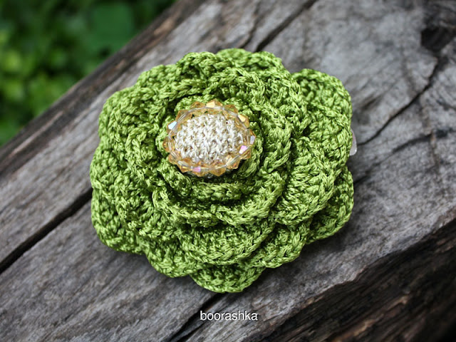 crochet flower hair pin