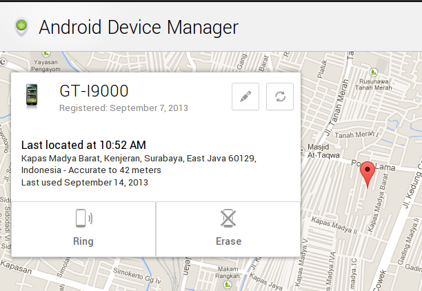 Android Device Manager Menawarkan 3 hal, Locate Your Phone, Ring Phone dan Erase