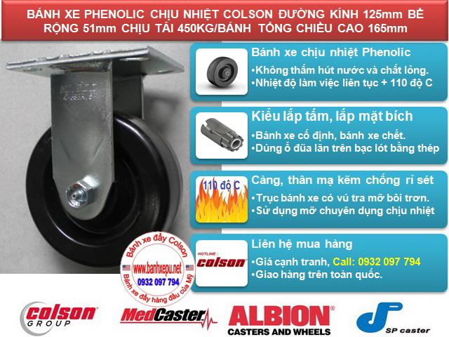thông số Bánh xe nhựa chịu nhiệt 110 độ C lò hấp Colson caster Mỹ | 4-5108-339