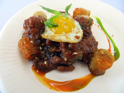 Portland Monthly's Country Brunch 2013, Boke Bowl Boke Eggs & Bacon with fried quail egg with pork in black bean sauce over rice tots