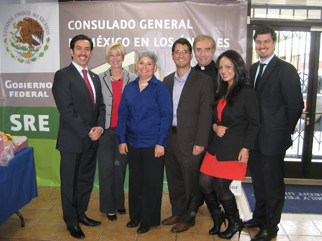 Photo of  Mexican Consul General David Figueroa Ortega, Congresswoman Janice Hahn, Lucia Moreno-Linares;  Rafael O. Morales; Father Luis Valbuena, OMI; Lupe Lopez, and Jorge Jimenez. Photo of