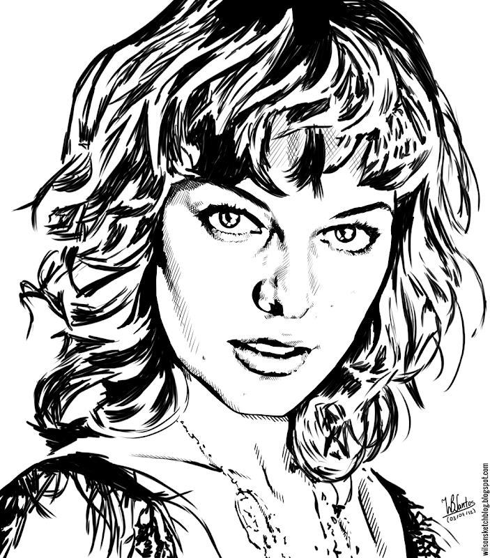 Ink drawing of Milla Jovovich, using Krita 2.4.