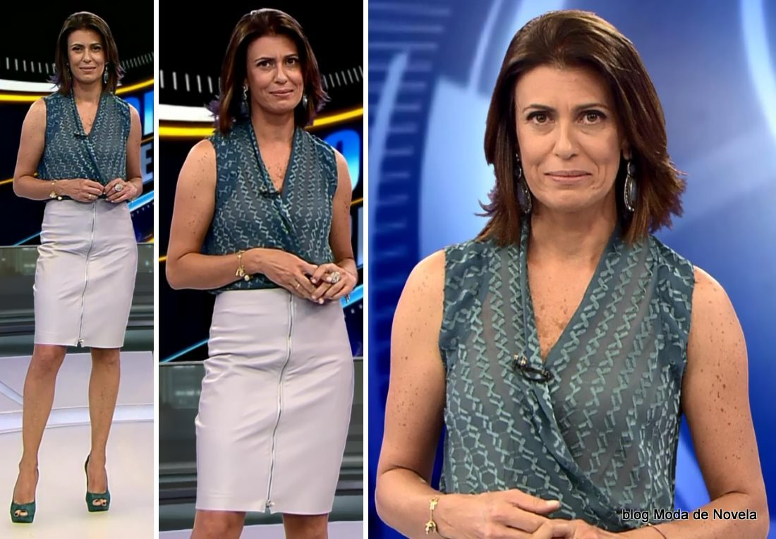 moda do programa Domingo Espetacular - look da Janine Borba dia 14 de setembro