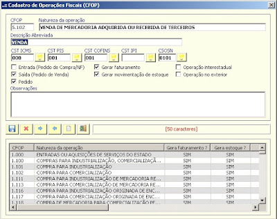 NeXT ERP NFe 2.0 segunda geração parametrização CFOP