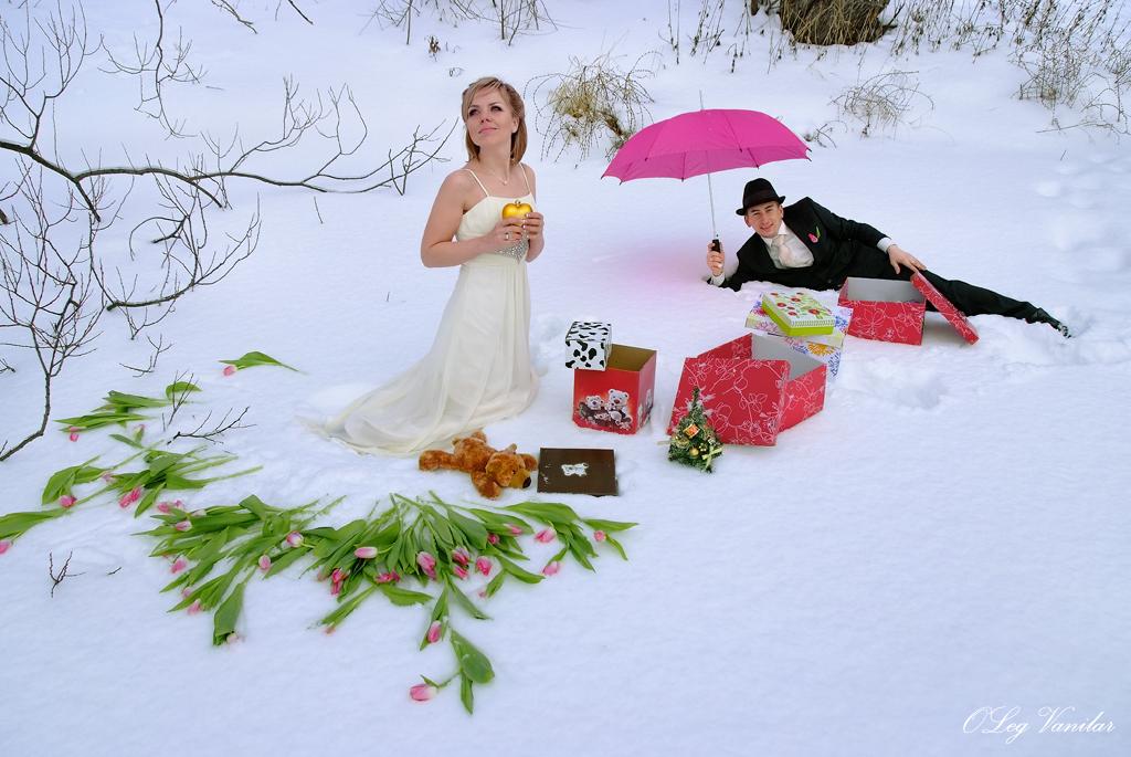 стала свадьба зимой фотосессия с зонтом занимает
