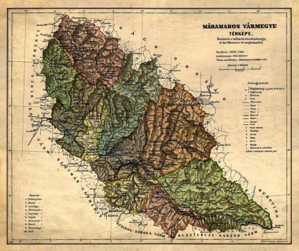 """Карта Мармароського комітату вскладі Угорщини, початокХХстоліття. Займав східну частину сучасної Закарпатської області йтеперішній жудець Мармарош уРумунії. Майже половину населення становили українці– офіційна назва """"русини"""". Також проживало багато угорців, румунів, німців ієвреїв. У січні 1919 року Гуцульська Республіка контролювала територію між Ясінею– угорська назва Kо""""rо¨ smezо""""– іМармароським Сиготом–  Ma' ramaros Sziget"""