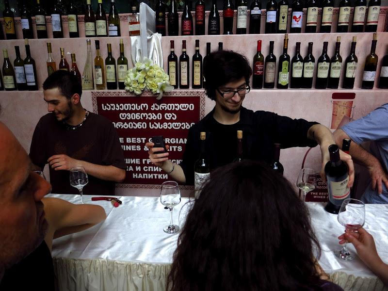 Tbilisi sidewalk wine tasting
