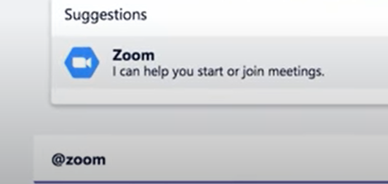 Type @Zoom then a command to use the Zoom Microsoft Teams plugin