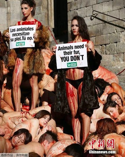 """wu153 Khỏa thân """"tắm máu"""" kêu gọi bảo vệ động vật"""