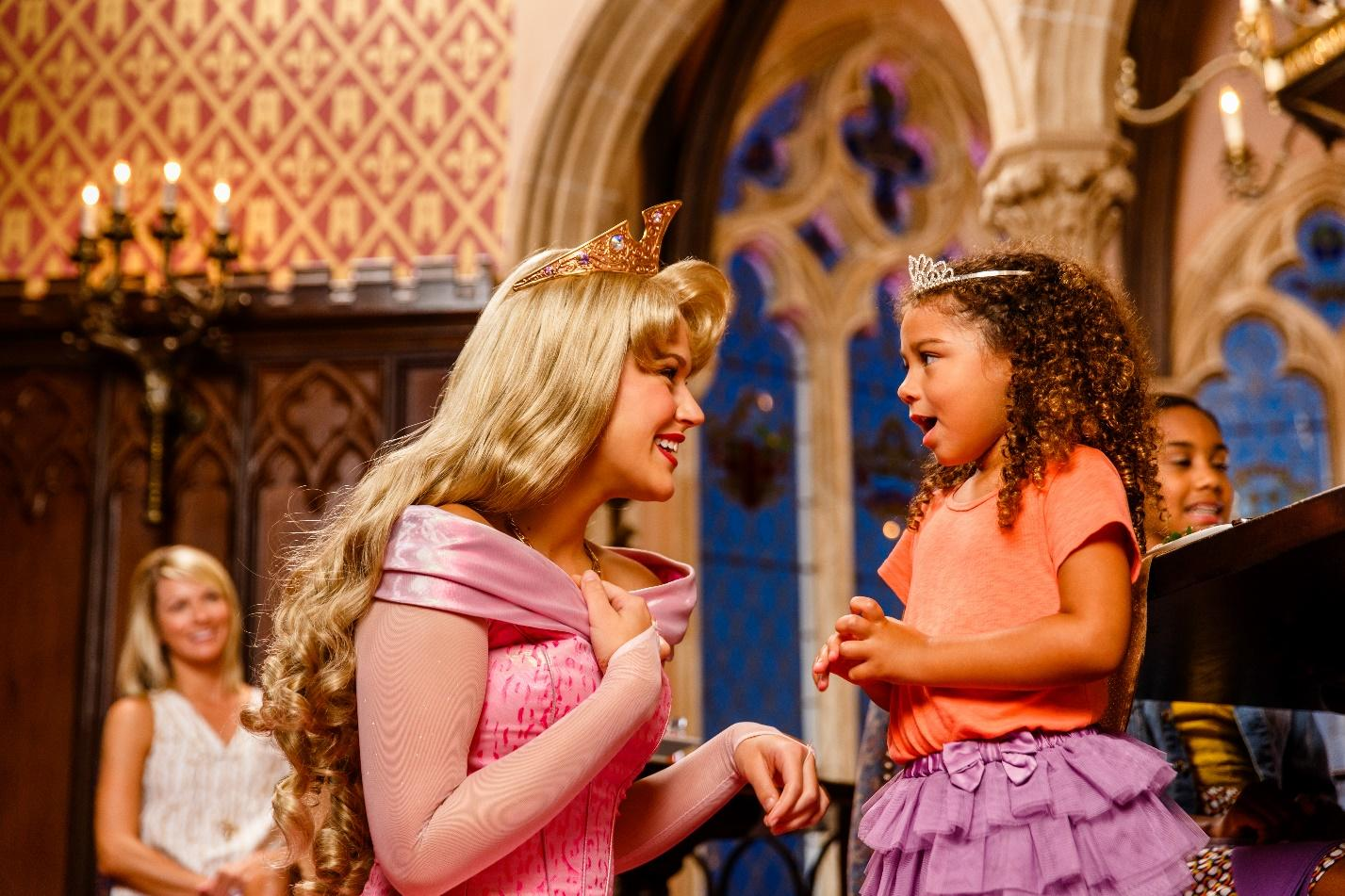 little girl is happily in shock meeting a Disney princess