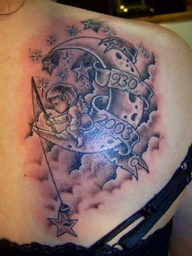 Cloud tattoo with angel