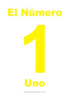 Lámina para imprimir el número uno en color Amarillo