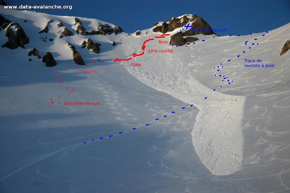 Avalanche Vanoise, secteur Dent Parrachée, Pointe de Bellecôte - Accès au Col des Hauts - Photo 1 - © Duclos Alain