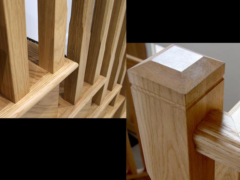 gỗ ghép sồi làm song, tay vịn cầu thang