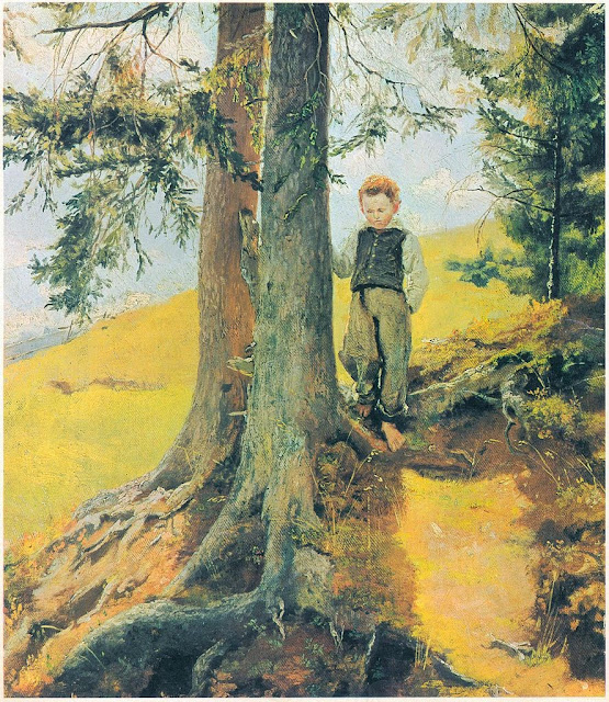 Hans Thoma - Bauernjunge am Waldesrand
