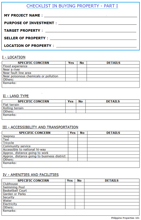 Checklist In Buying Property Part 1 Philippines