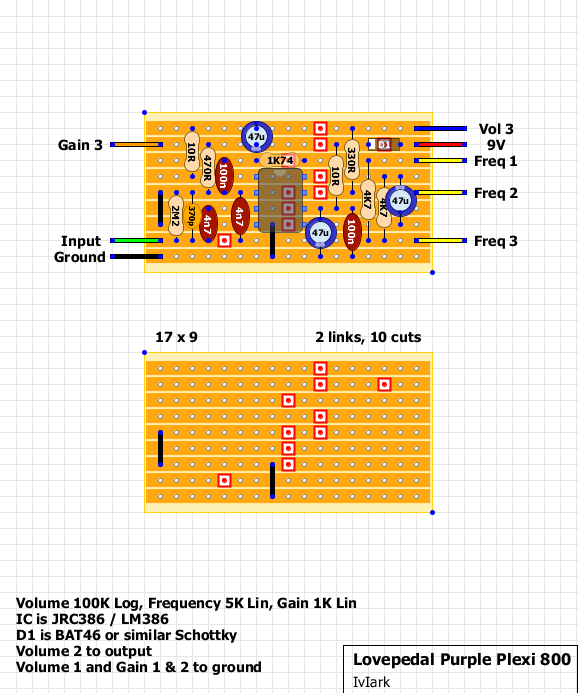 guitar fx layouts lovepedal purple plexi 800 update here s a slightly smaller version which allows you to use standard 9 row vero and so will be preferable for most people this is verified