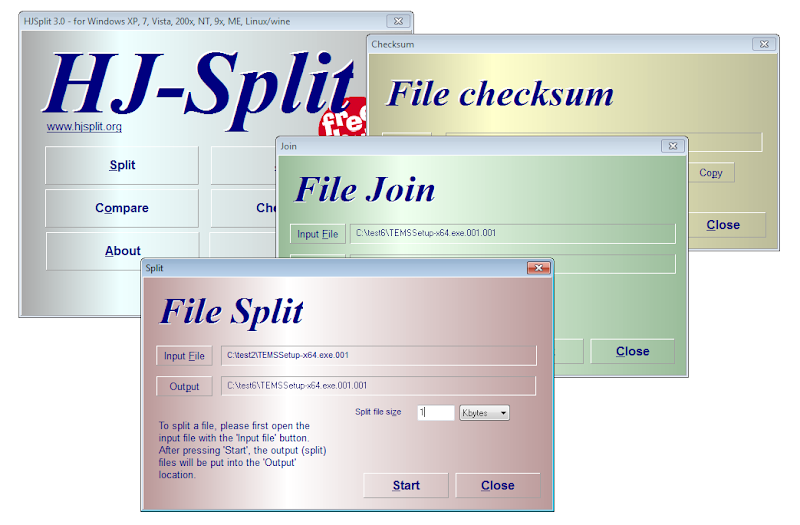 Screenshot of HJ-Split v.3.0 File Split & Join PC Software Free Download at alldownloads4u.com