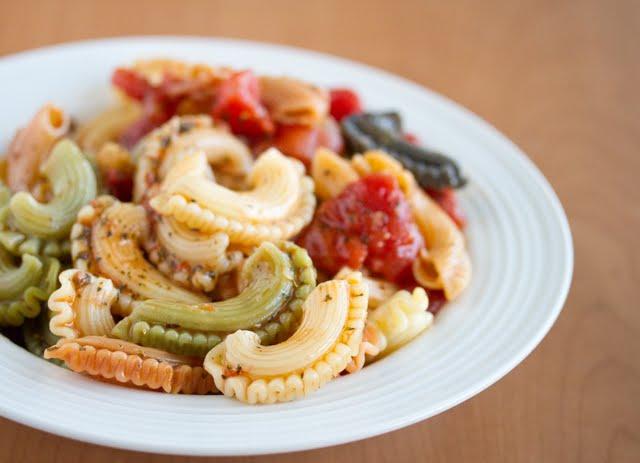 photo of pasta with marinara sauce