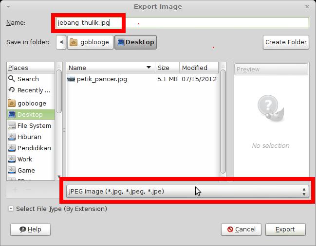 Jangan Lupa File Type dan extensi nama filenya