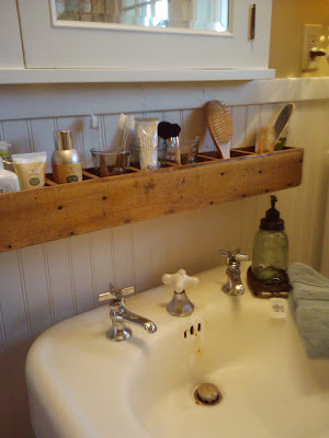 Inspirational I really like this rustic shelf seen on The Polo House It stretches from edge to edge of the sink maximizing the space and offers little cubbies to keep