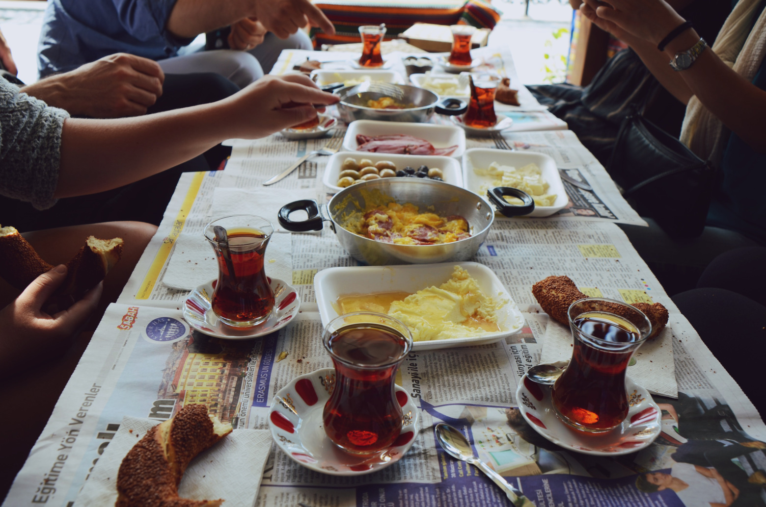 turkish breakfast with tea and eggs