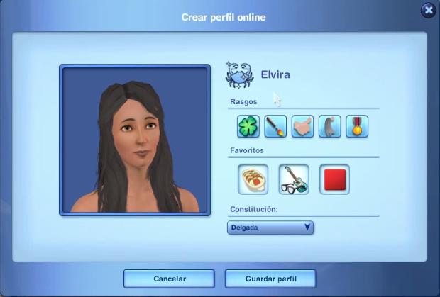 Crear perfil online sims