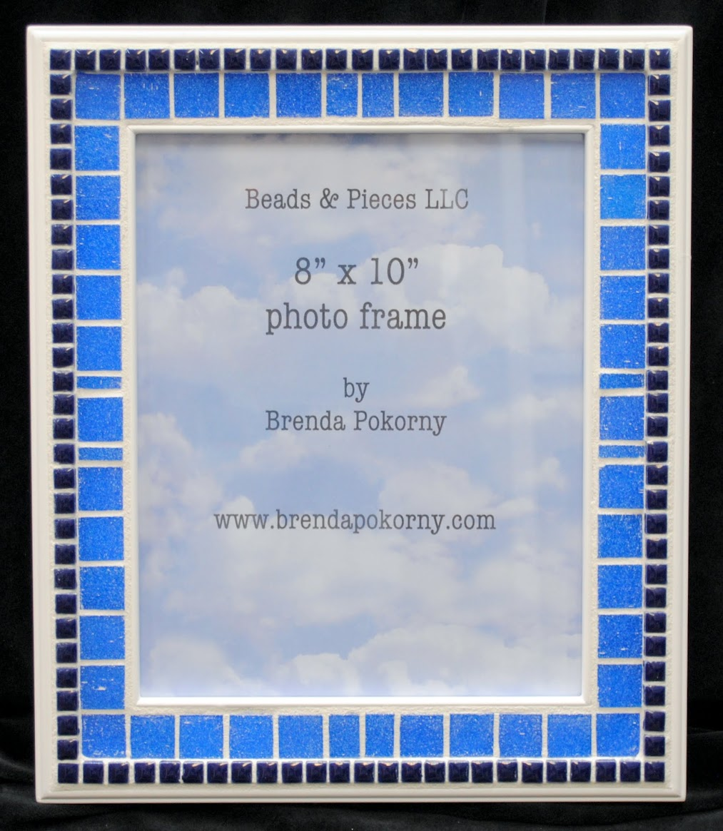 "Two Shades of Blue on White 8"" x 10"" Mosaic Photo Frame MOF1429"