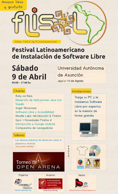 Imagen del afiche del FLISOL 2011 - Sábado 9 de abril Asunción - Paraguay