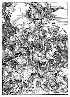 Die Vier apokalyptischen Reiter von Dürer. Quelle: wikimedia. Der Hunger war lange Zeit eine extreme Bedrohung der Menschheit.  Im Mittelalter galt der Hunger noch als eine der Plagen, die die Menschheit vernichten würden. Heute hat er diese apokalyptisch-philosophische Bedeutung verloren
