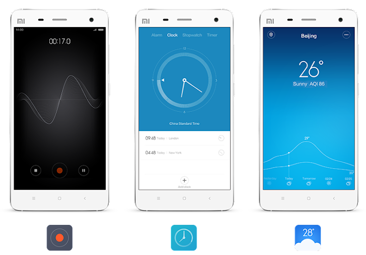 MIUI 6: recorder, clock, weather