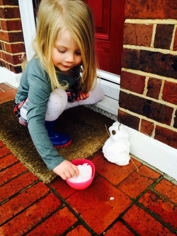 Maegan Clement (3) playing in the snow January 2015