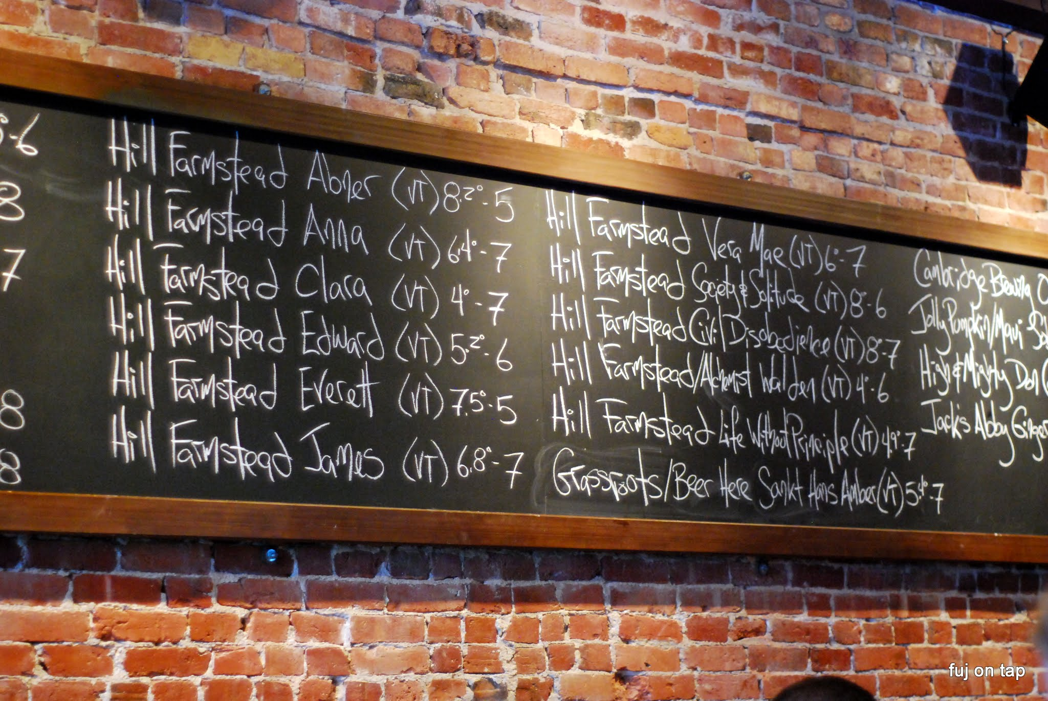 Hill Farmstead Tap List at Armsby Abbey