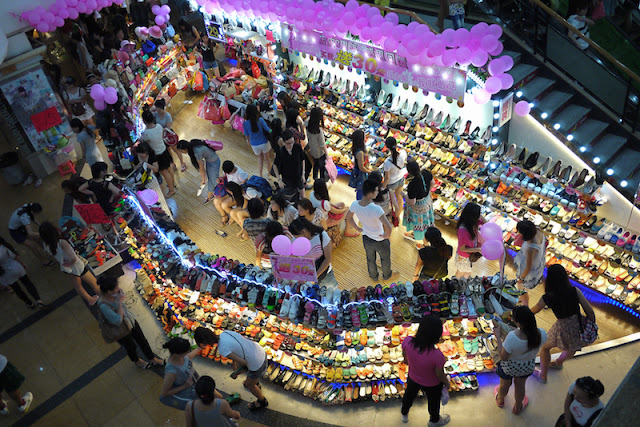 shoe store seen from above at Dongmen in Shenzhen, China