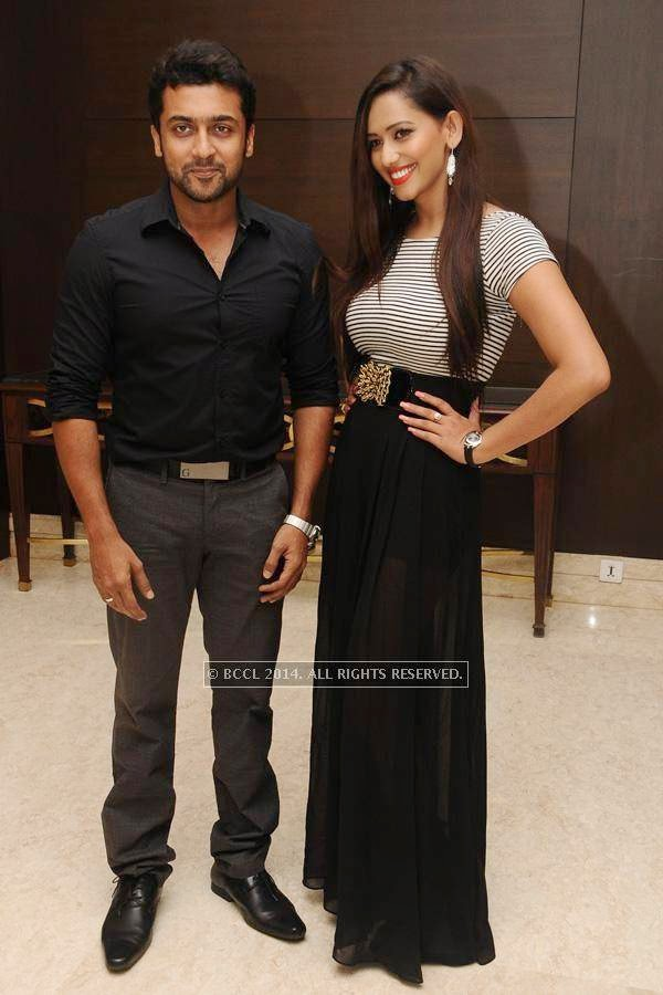 Suriya and Sanjana Singh during the birthday celebration, held at The Leela Palace, in Chennai.